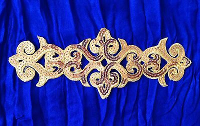 gold sequin embroidery patch lace applique motif dress irish dance costume