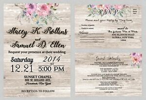 Personalized Wedding Invitations.Details About Personalized Wedding Invitations Rustic Country Pink Invites Set Of 75