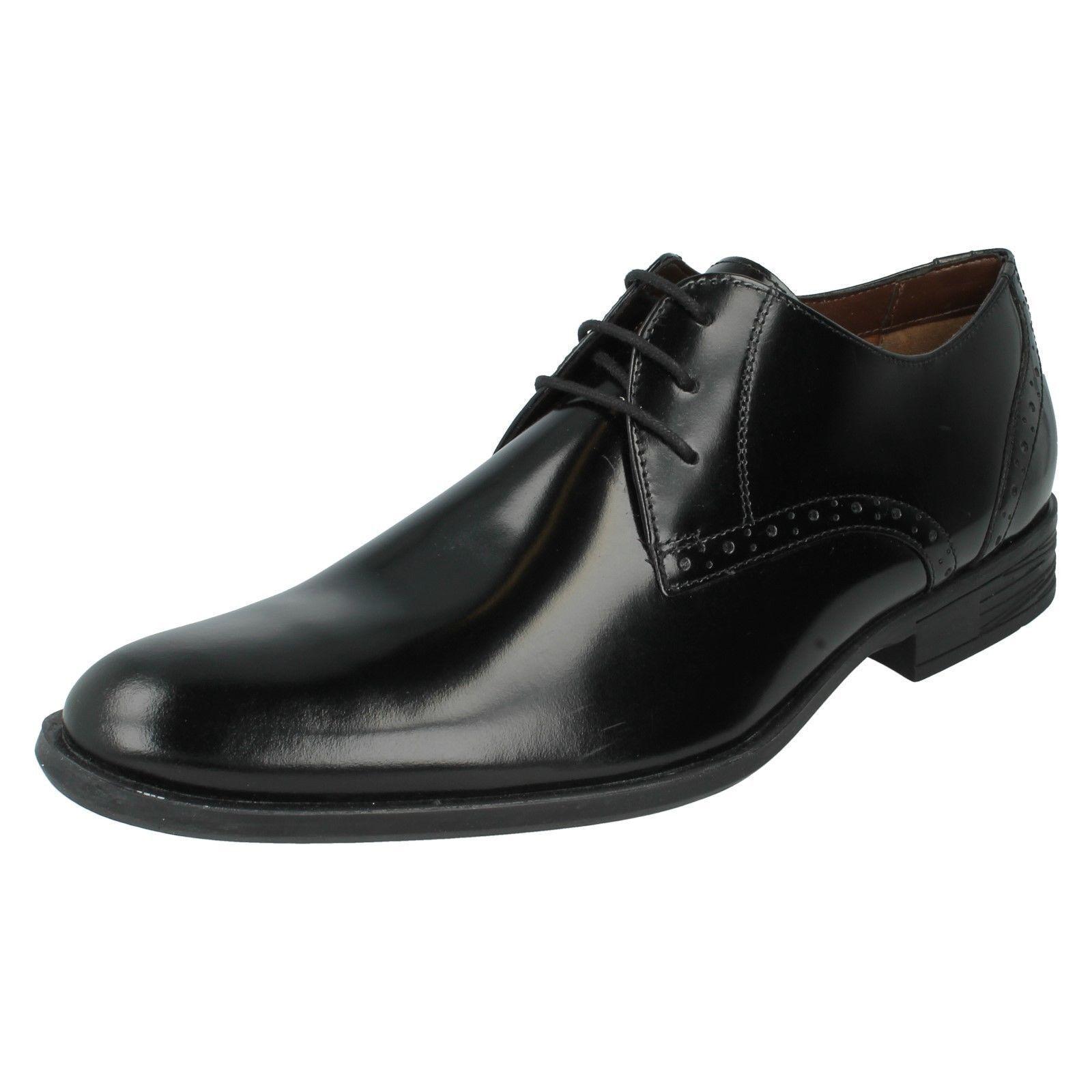 Hush Puppies Kensington Mens Black Polished Leather Wide Fitt Shoes (R19B)