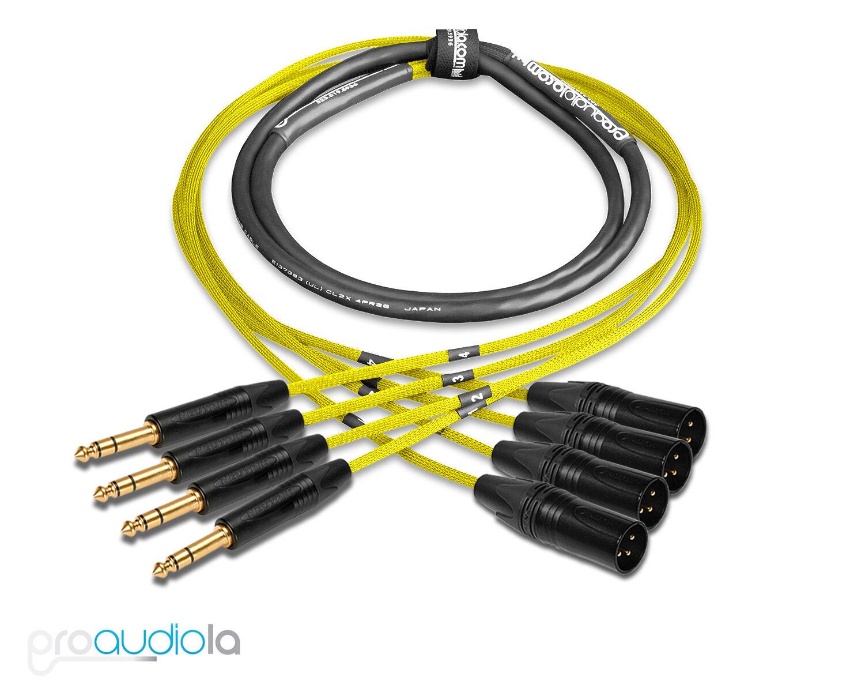 Premium 4 Channel Mogami 2931 Snake   Neutrik Gold TRS XLR-M   Gelb 4 ft.