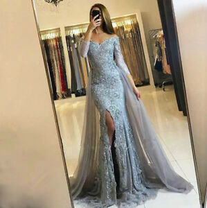 Lace-Mermaid-Long-Sleeve-Split-Evening-Dress-Party-Prom-Formal-Gown-Custom