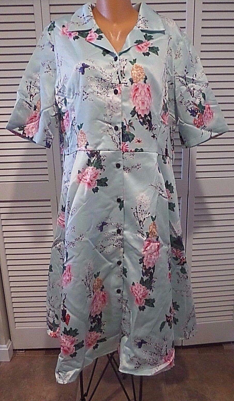 Respectfully Retro Midi Dress NWTD Satin Mint Green Floral Shirt Dress 3XL 2XL