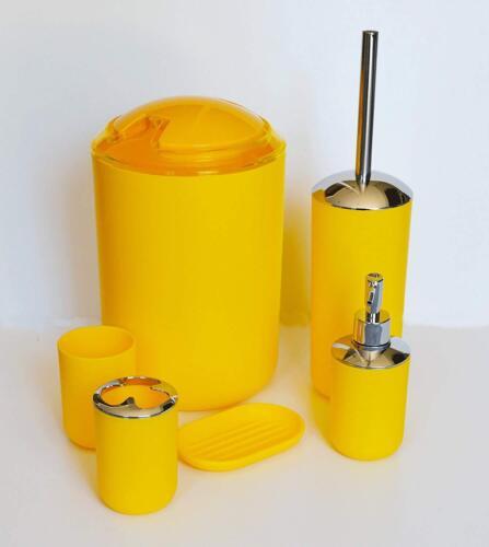 6 piece pc Bathroom Accessories Set Bin Soap Dispenser Toothbrush Tumbler Holder