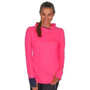 Brooks-Running-Women-039-s-Brite-Pink-Hoodie-Long-Sleeve-Pullover-Top