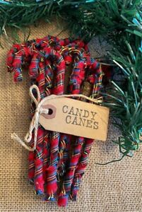 """12 Primitive 6/"""" BARN RED SMALL CHECK Fabric Candy Canes Christmas Ornaments lot"""