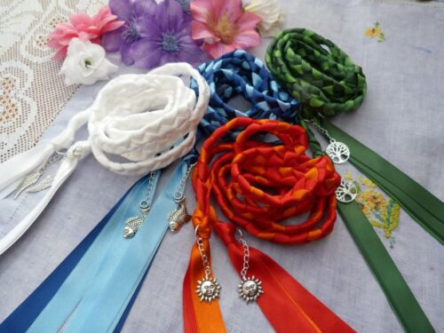 Set of 4 honouring the Elements Handfasting wedding cords air water earth fire