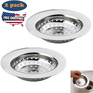 Details About 2pc Sink Strainer Filter Stainless Steel Kitchen Waste Drain Stopper Basket Hold