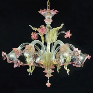Ca Venier Lustre En Verre De Murano 5 Lumières Cristal Or Rose Ebay