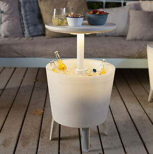 Keter Illuminated Cool Bar Plastic Outdoor Ice Cooler Table Garden