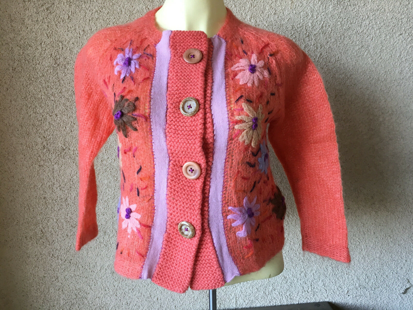 Free People People People Cardigan Sweater Embroidered Floral Design orange Shrug 4 Buttons 6c6948