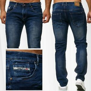 Herren-Jeans-Slim-Fit-Hose-Denim-Used-Stonewashed-Blue-Jeans-Waschung-Stretch