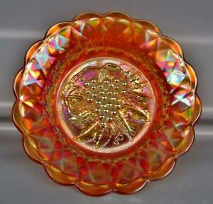 Imperial-HEAVY-GRAPE-with-FLUTE-Exterior-Marigold-Carnival-Glass-9-034-Bowl-7361