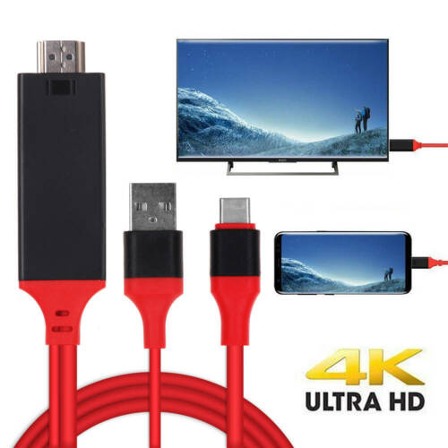 MHL Type-C USB to HDMI 2Kx4K Media HD TV HDTV Cable adapter Charger Cord Lead