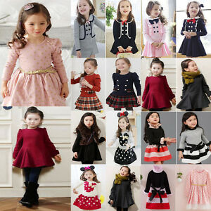 bce4fd212 Girls Autumn Party Outfit Baby Kids Winter Long Sleeve Princess Tutu ...