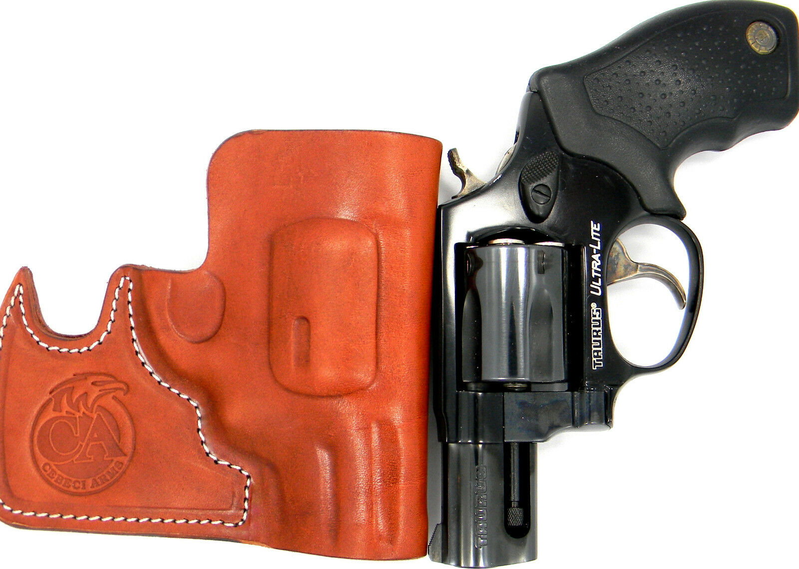 38 SPECIAL REVOLVER CEBECI FRONT POCKET BROWN LEATHER CCW CONCEALMENT HOLSTER