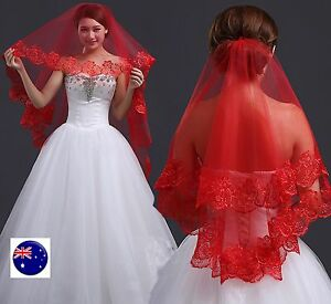 Women-Bride-Bridal-Red-Halloween-Wedding-head-hair-Lace-Party-Veil-Without-Comb