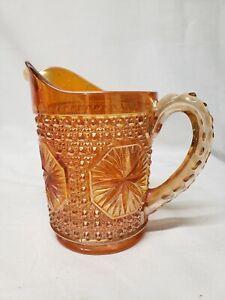 Vintage Imperial Glass Pitcher Iridescent Carnival Star Medallion Marigold