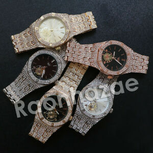 NEW-HIP-HOP-ICED-OUT-14K-ROSE-GOLD-SILVER-BLACK-PLATED-LAB-DIAMOND-2CHAINZ-WATCH
