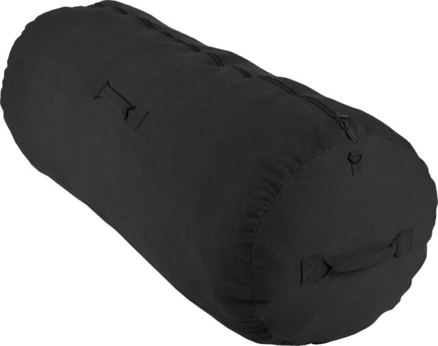 Black Cotton Canvas Side Zipper Sports Gym Travel Duffle Bag Duffel
