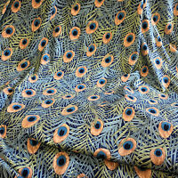 Jersey Dress Fabric Peacock Feather Blue Viscose Lycra Sample, 1/2 or full Metre