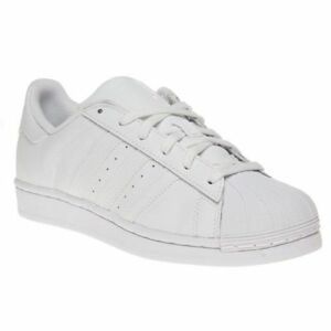 wholesale dealer 011f0 1a78b Image is loading Adidas-Superstar-Foundation-kids-Junior-White-Mono-Leather-