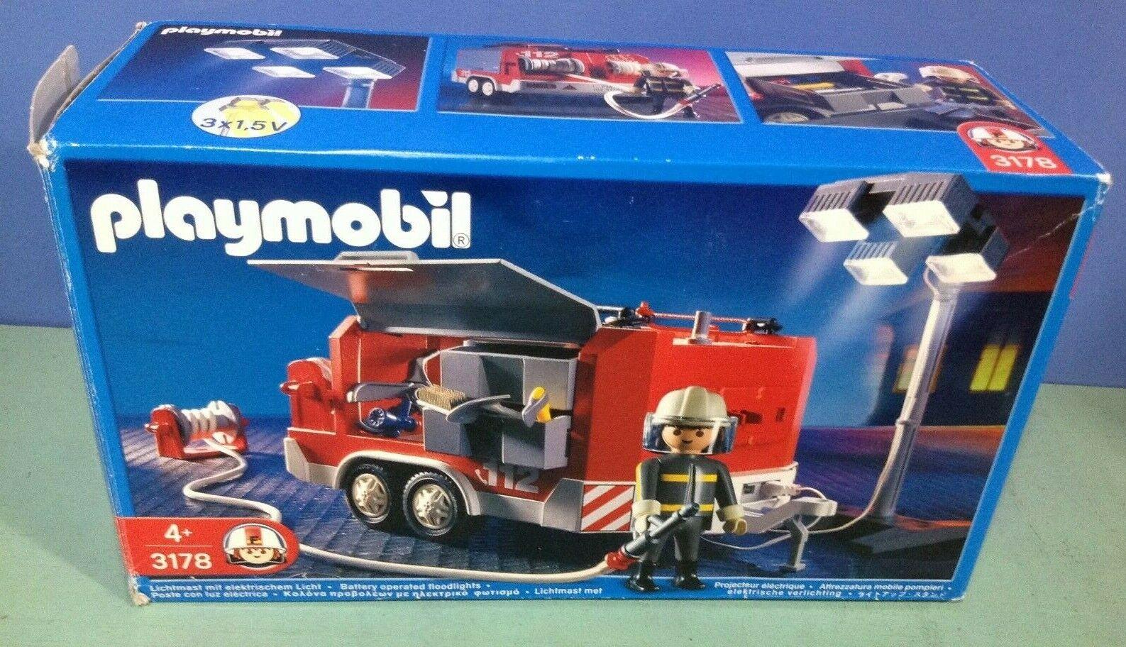 (O3178)  playmobil remorque pompiers à projecteur led complet ref  3178  acquisti online