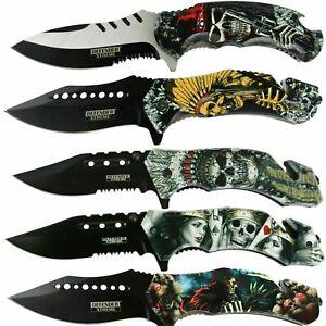 Print Handle Hunting Folding Pocket Knife Folding Tactical Open Serrate Blade