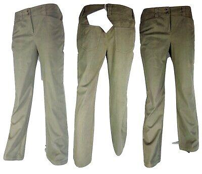 Pantalone Donna Taglia 44 L 30 Verde Marella Cotone Gamba Dritta Alta Qualità