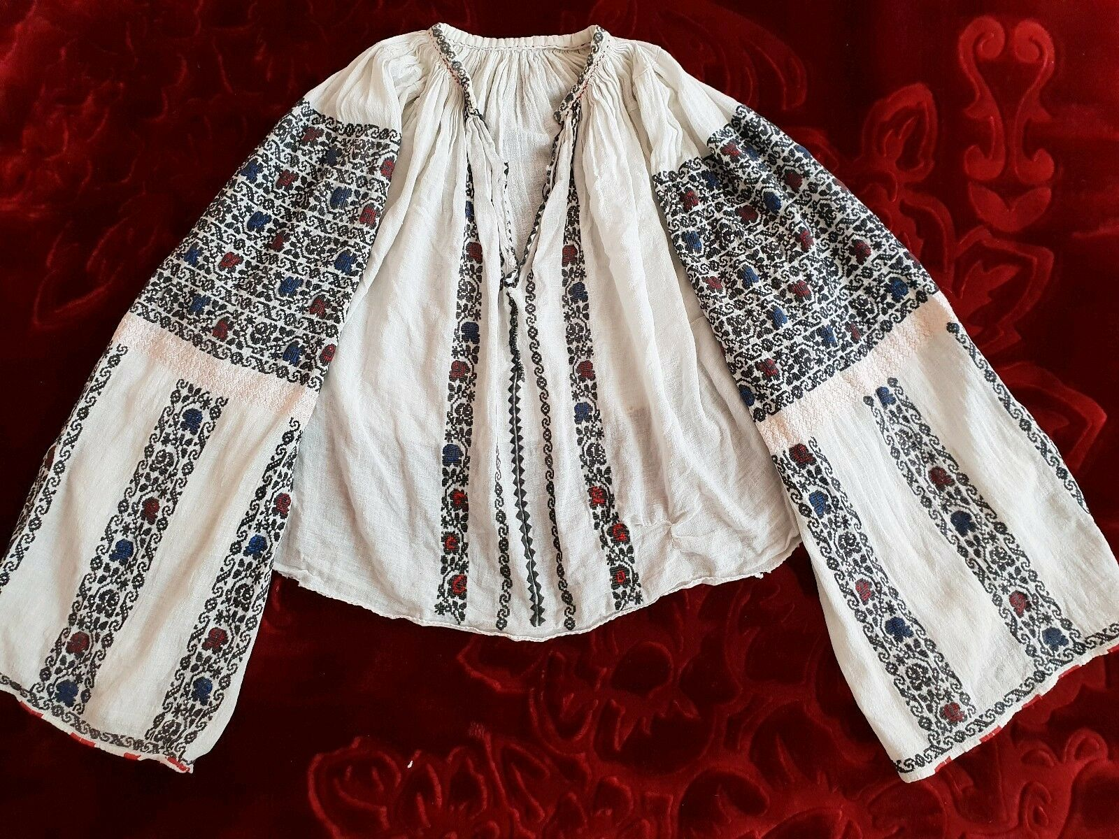 Stunning Sequins Vintage Romanian traditional blouse