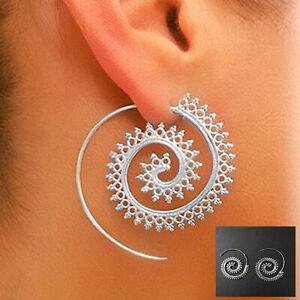 Mode-Bijoux-925-Sterling-Argent-Plaque-Spirale-Tourbillon-Hoops-Boucle-d-039-oreille