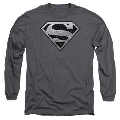 Superman SUPER METALLIC SHIELD Licensed Adult Long Sleeve T-Shirt S-3XL