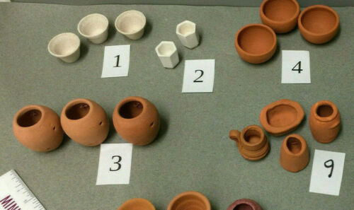 Choice Miniature Landscape Garden Clay Pots for Yard or Dollhouse Scale 1:12