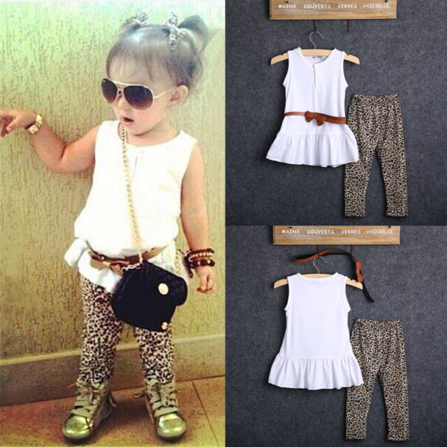 NEW Baby Kids Girls Tops+Leopard Pants+Belt 3Pcs Outfits Set Clothes 1-7Y UK