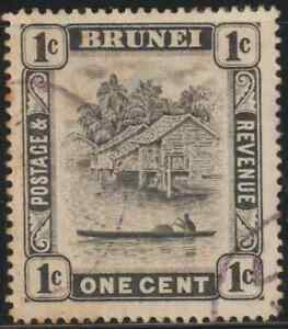 BRUNEI 1924 1c BLACK USED. CAT RM 3
