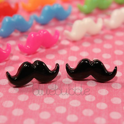 FUNKY SMALL MINI MOUSTACHE STUD EARRINGS CUTE SWEET KITSCH KAWAII EMO CHIC FUN