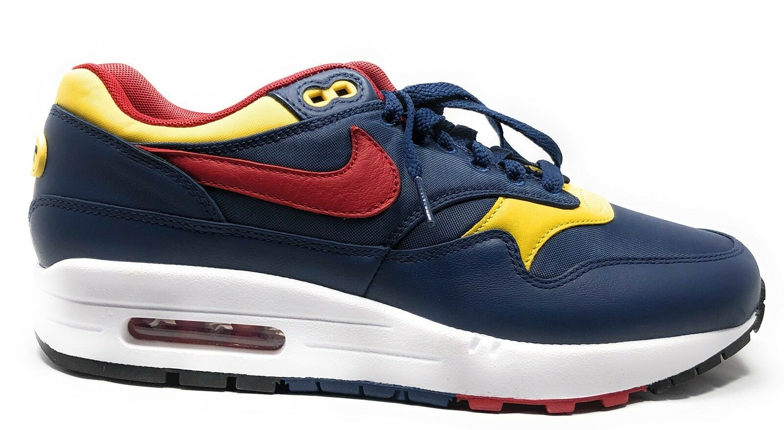 {875844-403} MEN'S NIKE AIR MAX 1 PREMIUM SHOE NAVY GYM RED NEW