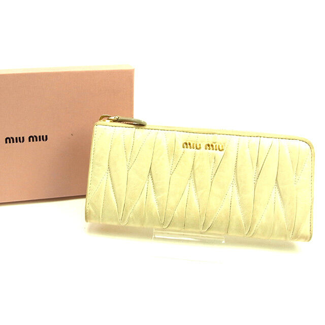 miumiu Wallet Purse Long Wallet Materasse Beige Gold Woman Authentic Used Y6909
