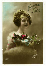 c 1920 French Glamour FLOWERS BEAUTY Tinted photo postcard