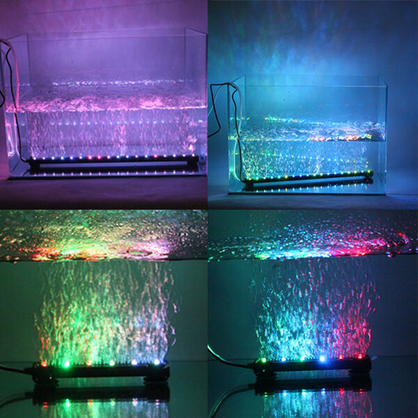 Aquarium Fish Tank Underwater Submersible Air Bubble Color Changing LED Lights