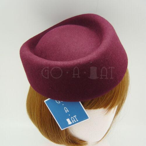 VINTAGE Wool Felt Ladies Pillbox Hat Women Fascinator PartyBurgundyRound