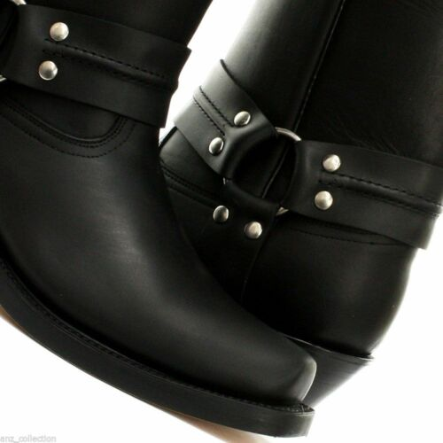 Biker High hommes pour Black Bottes Grinders Cowboy Western cuir Harness en YTxcaz