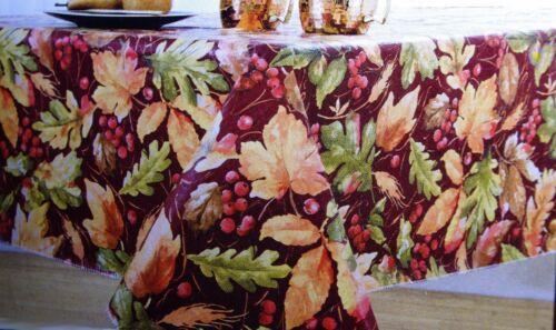 "Thanksgiving Autumn Leaf Leaves Harvest Vinyl Oblong Tablecloth 52/"" X 70/"" NEW"