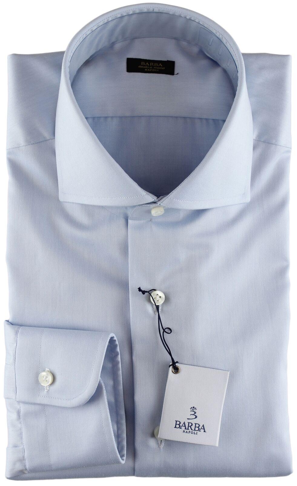 NWT BARBA NAPOLI DRESS SHIRT gold label sky bluee twill handmade 43 17
