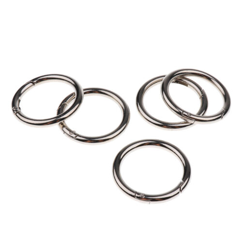 5pcs Round Push Gate Snap Open Hook Spring Ring Key Chain Carabiner Buckle