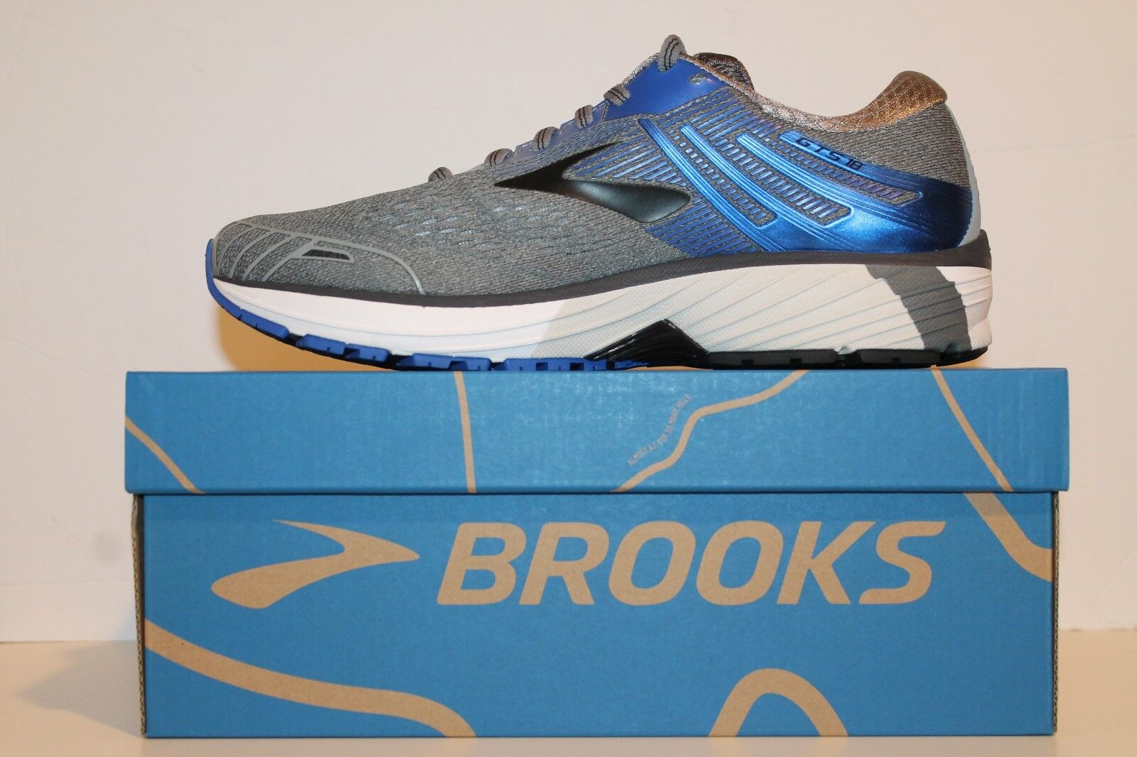 Mens Brooks Adrenaline GTS 18 Support Running shoes Grey bluee Black WIDE 2E