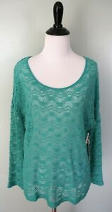 New-Altar-039-d-State-Green-Long-Sleeve-Sheer-Scoop-Neck-Knit-Top-Shirt-Size-Small