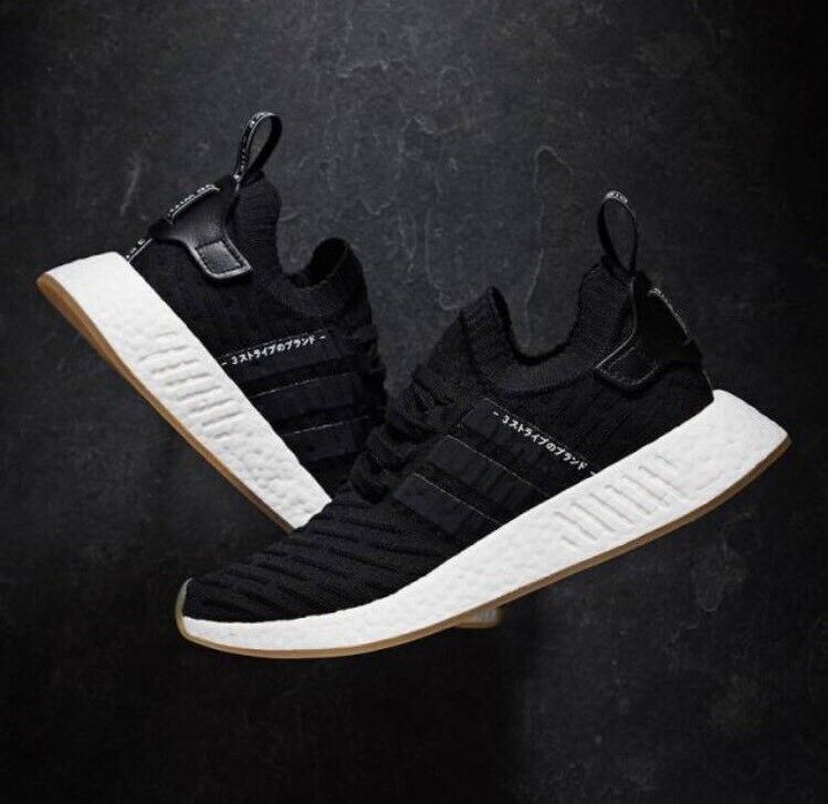 Adidas Originals NMD_R2 Primeknit PK Black GUM White Japan Pack BY9696 Mens sz 4