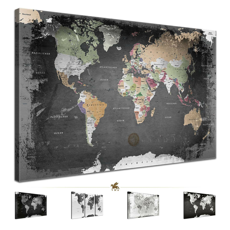 Lana KK® Weltkarte Leinwand Bild Poster Pinnwand Kork Vintage schwarz weiß grau