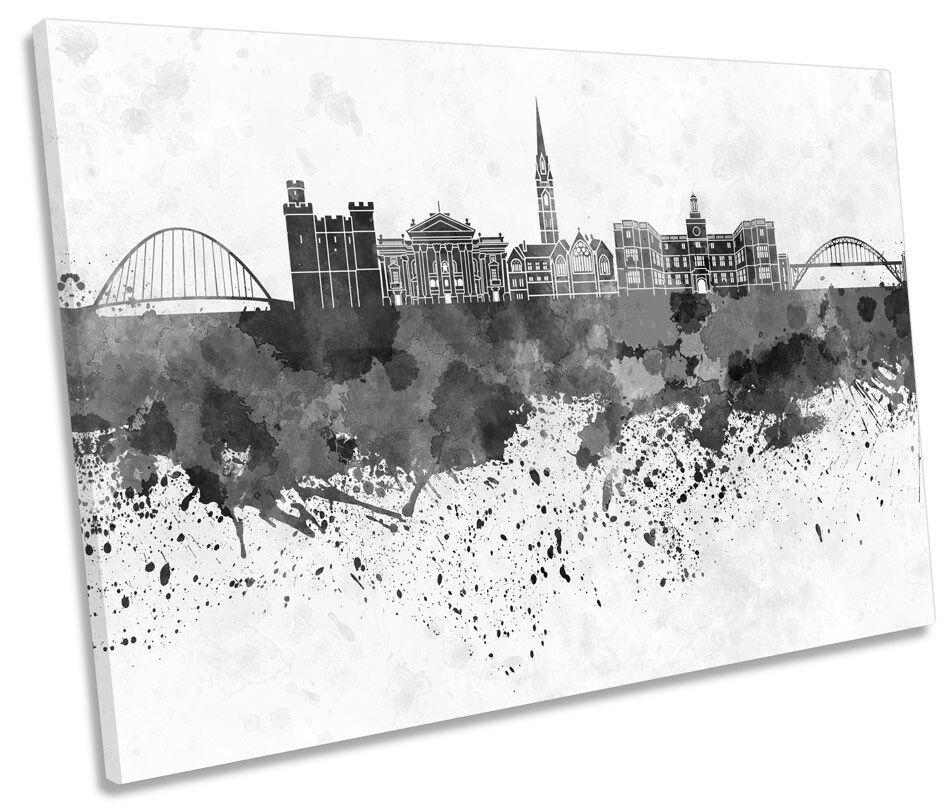 Newcastle City Skyline Modern B&W SINGLE CANVAS WALL ART Picture Print
