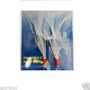 3-100 packs size 3//0 rock cod rigs green feather rockfish baits 2 Rigs//pack